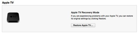 Apple TV summary page, To Update and restore Apple TV software using iTunes
