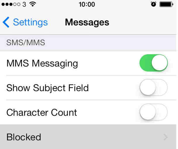 Block calls and text on iOS 7, iOS 8 from message option