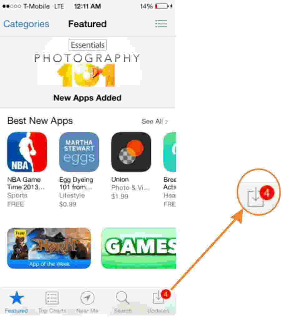Click on Update inside App store