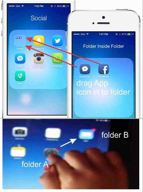 How to move or create folder inside folder in iphone ipad for How to design an iphone app