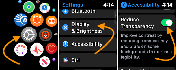 Enable Reduce Transparency toggle on apple watch settings app