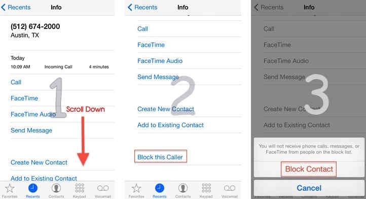 Steps for Block unknown call on iPhone, iPad - iOS 7 or iOS 8