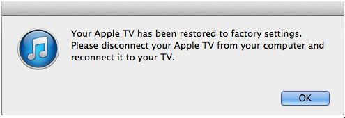 Update and restore Apple TV software using iTunes successfully
