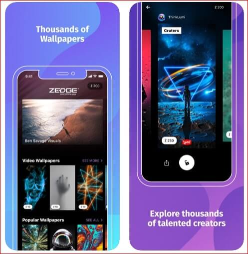 Zedge Wallpaper app for iPhone