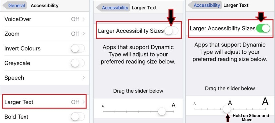 how to change change text size on iOS 9, iOS 8 iPhone 6S, iPhone 6S Plus