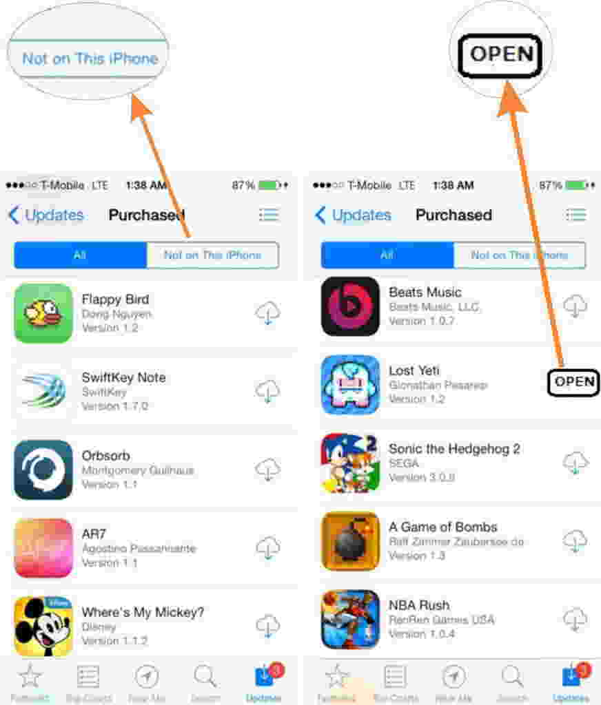 download purchased apps from app store in iPhone and iPad