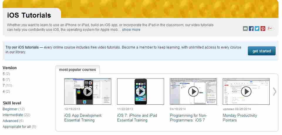 lynda - online tutorial for iOS - iPhone app development
