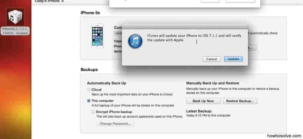 message which on downgrade iOS 8 to iOS 7
