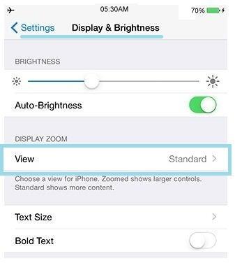 Enable Zoom option - Enable display zoom in iOS 8