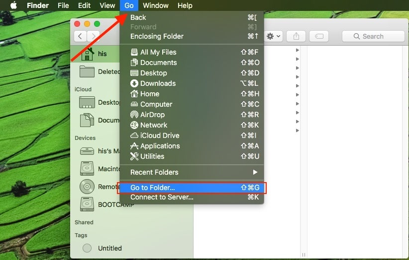 1 Go to Folder under Finder on Mac