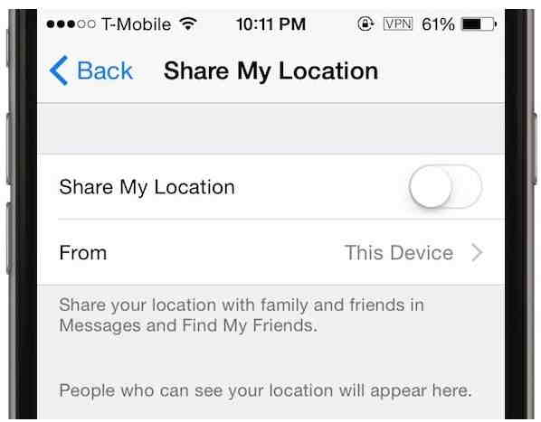Disable stop my location - Useful privacy settings in iOS 8