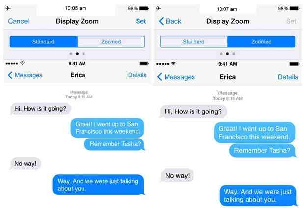 Message Conversation in Normal mode and Zoomed mode