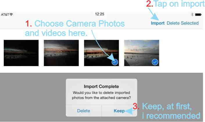 Copy or Import photos and videos from camera to iPhone and iPad