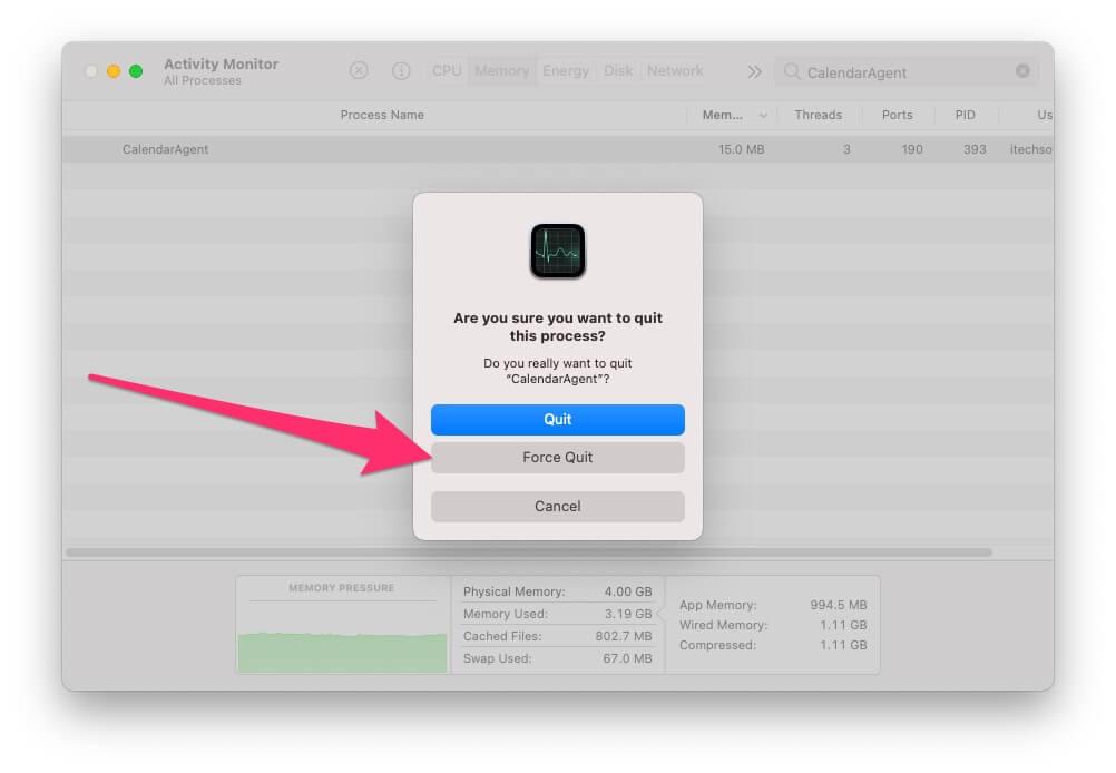 Force Quit the Calendar Process on Mac