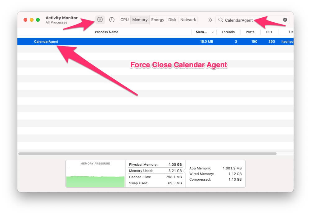Force close the Calendar Agent from Activity Monitor
