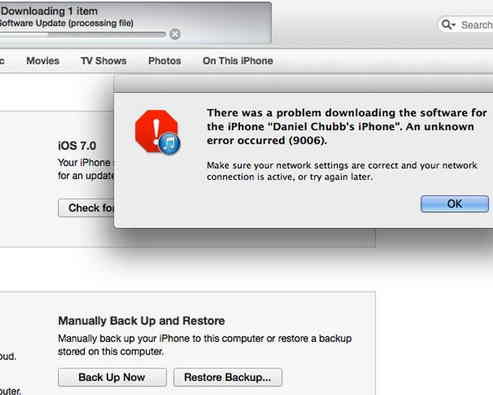 How to Fix error 9006 when update your iPhone or iPad