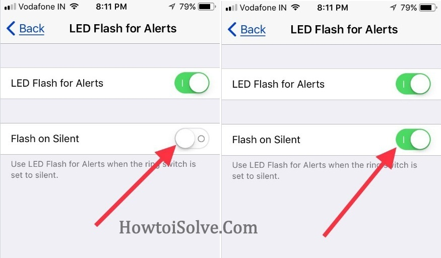 Turn on or off LED FLash for Alerts when iPhone on Silent mode