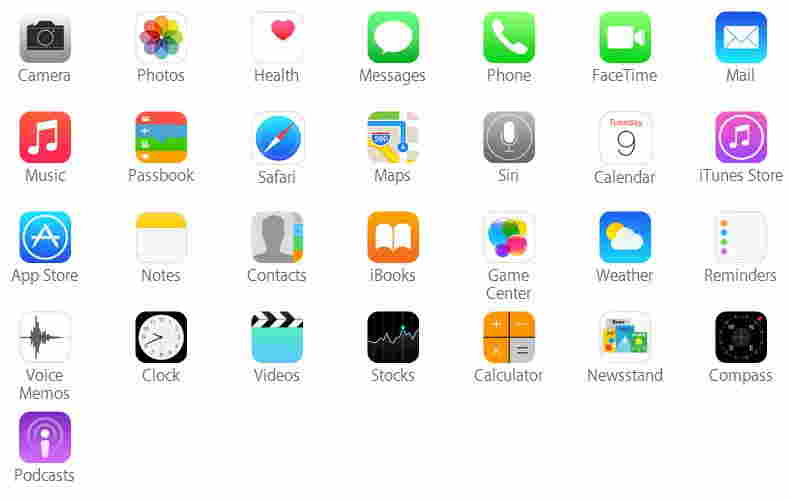 iPhone 6 and iPhone 6 plus pre installed apps
