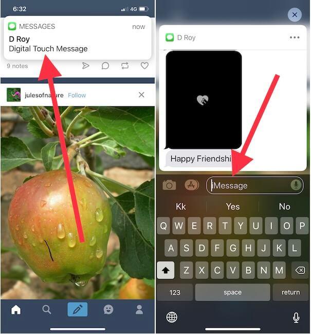 1 Быстрый ответ в iMessage с экрана разблокированного iPhone в iOS 12