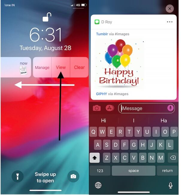 1 Quickly Reply iMessage From lock screen in iOS 12 (1)