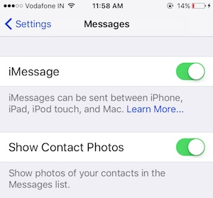 2 Enable imessage from iMessage Settings app on iPhone