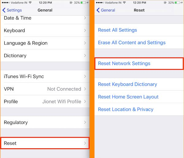 4 Reset Network Settings on iPhone iMessage