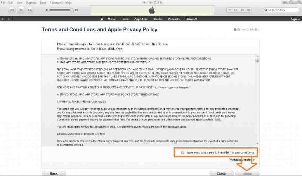 Accept iTunes terms and conditions
