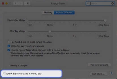 to show status, enable battery status
