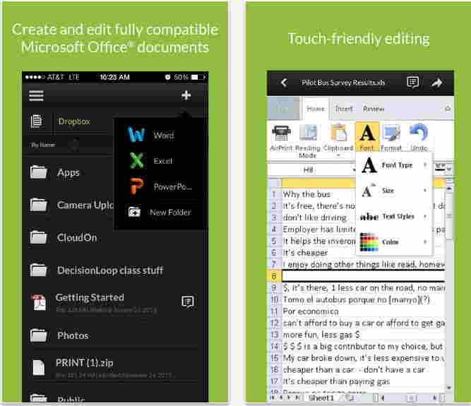 Cloud On office file editing app