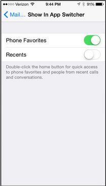 disable option and Remove recent contacts list in iOS 8