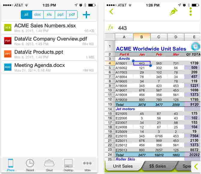 Document To go word, Excel file editing app