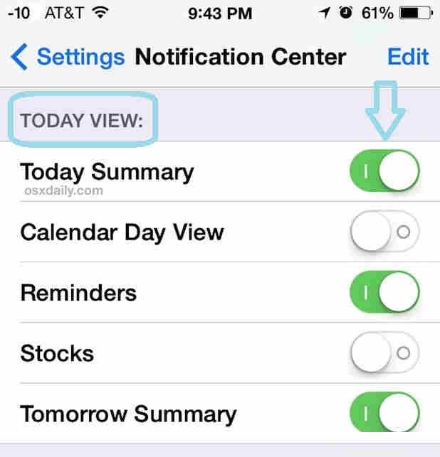 Enable or disable pre installed today widget in iOS 8 iPhone and iPad