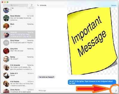 Start audio recording in Message app - Yosemite