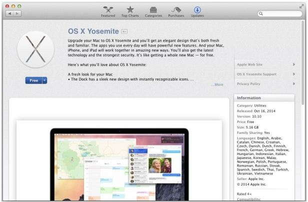 Download, install or update Yosemite in Mac from app store