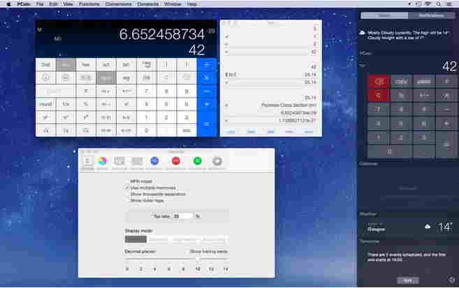 PCalc support today widget in OS X yosemite