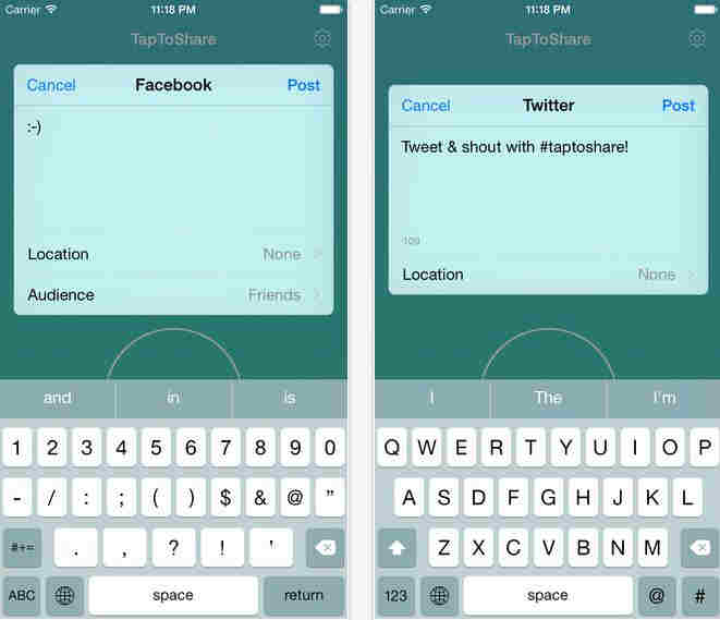 Twitter and facebook post from iOS 8 notification center