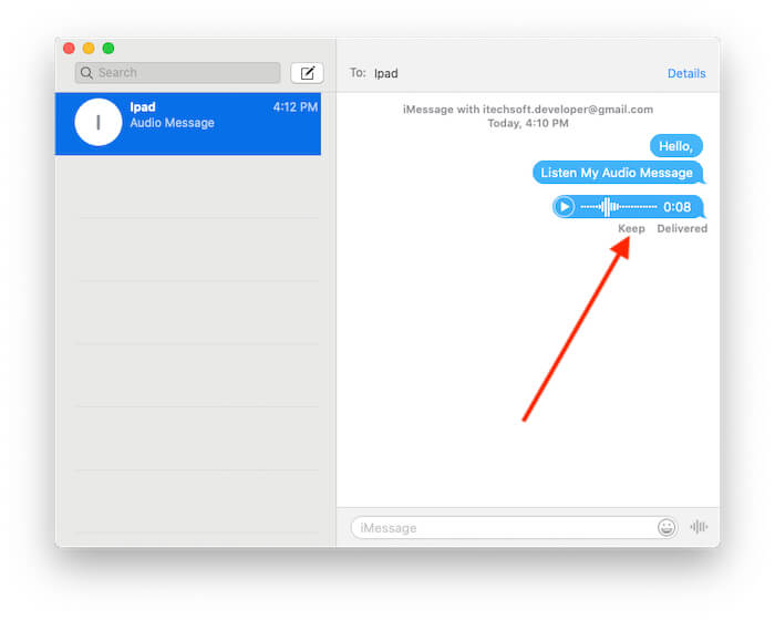 Stop automatically Removed Audio Message using the keep option