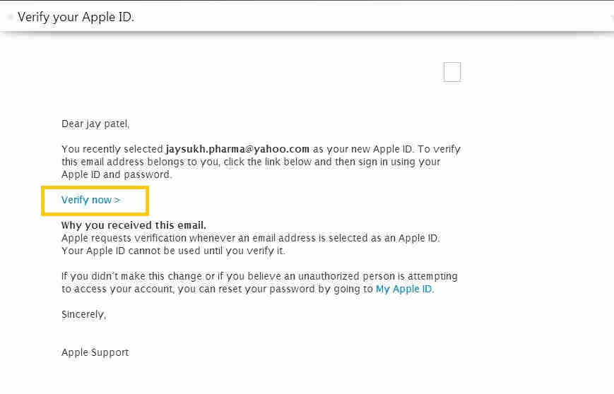 Tap on iTunes account verification link