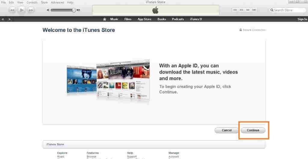 Press continue in iTunes account registration