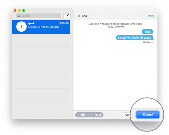 Tap on Send button on iMessage