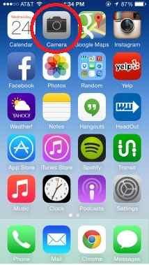 Open camera app in iPhone or iPad