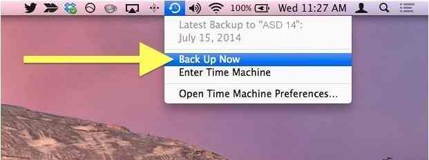 Time machine icon on Mac menu