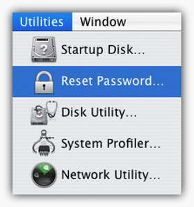 reset password using utilities