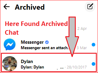 You can see Archived chat on your web portal left side on the screen Recover Deleted Facebook Messages