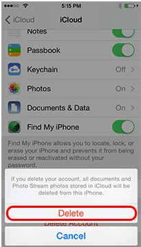 Tap on Delete for iCloud account delete