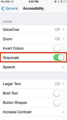 Grayscale under Accessibility option of your iPhone