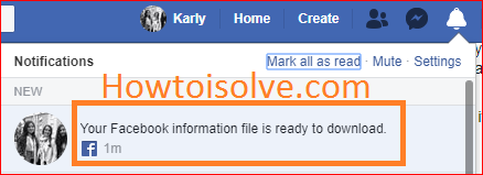 get a notification in the subject of your Facebook information files is ready to download Recover Deleted Facebook Messages on Your iPhone, PC, Computer, Mac
