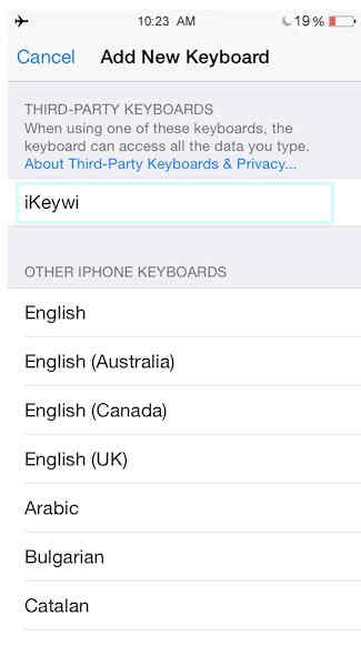 Choose your prefer language iKeywi - Best third party keyboard for iOS 8