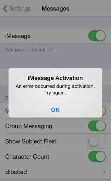 iphone error code imessage waiting for activation error on iphone fixed 11825