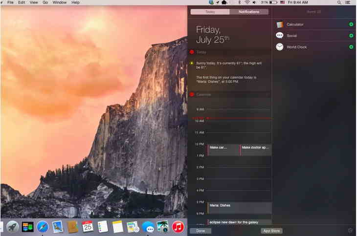 open notification center on os x yosemite screen